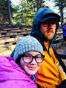 Staying warm at the ranger talk @ Rocky Mountain National Park
